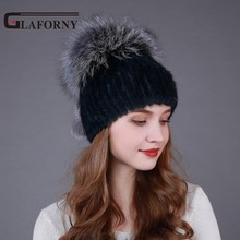 ZDFURS 2017  Russian Style Real Mink Fur Hat for Women Brand Winter Knitted Mink Fur Beanie Cap with Fox Fur Pom Pom 6 Colors
