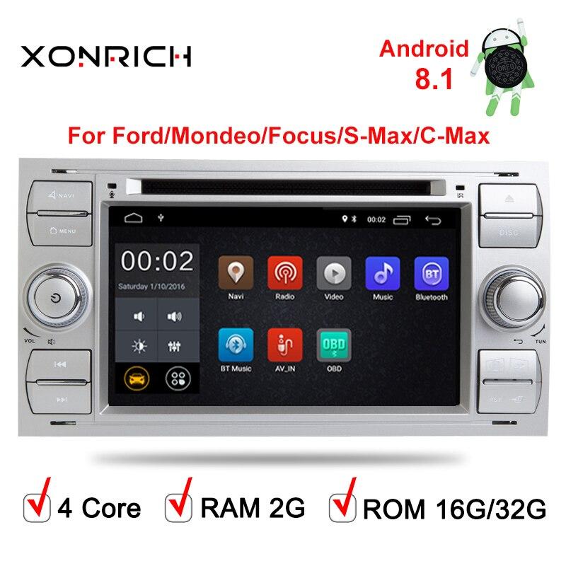 Lecteur multimédia de voiture GPS Navi Android 8.0 2 Din système stéréo Radio pour Ford/Focus/Mondeo/Kuga Octa Core Wifi Microphone DVR