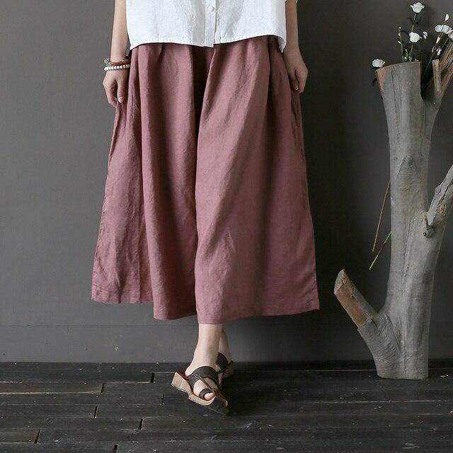 28497d365e30e Women Summer Retro Solid Color Elastic Waist Wide Leg Pants Calf length  Ladies Linen Vintage Loose Trousers Female Plus Size