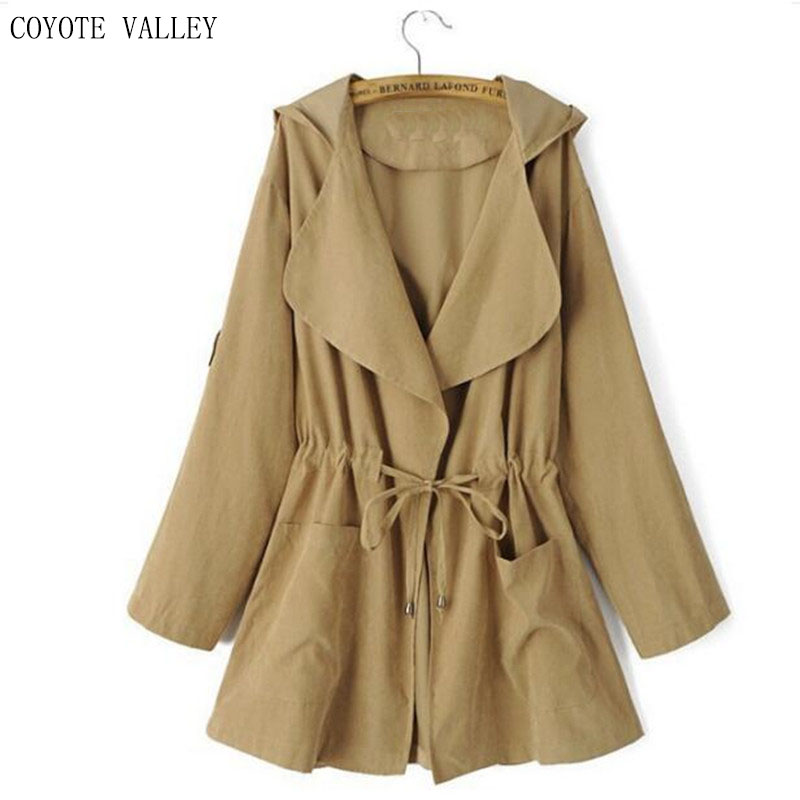 COYOTE VALLEY 2017 Womens Coat High Quality Autumn And Spring Long Coat For Women Windbreaker Hat Detachable jaqueta feminina