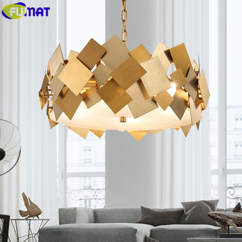 FUMAT Modern Gold Stainless Steel Pendant Light Luxury Living Room Dinning Room Lustre Pendente American Simple Hanging Light mathable 5006