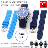 18/19/20/21/22/23/24mm Silicone Rubber Sport Band Watch Strap Universal Watch Bracelets Suitable for Longines Omega Seamaster