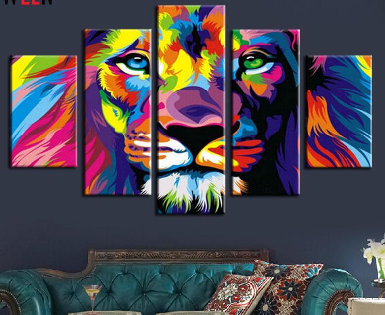 no frame 5 piece color print lion king animal abstract painting modern home living room wall