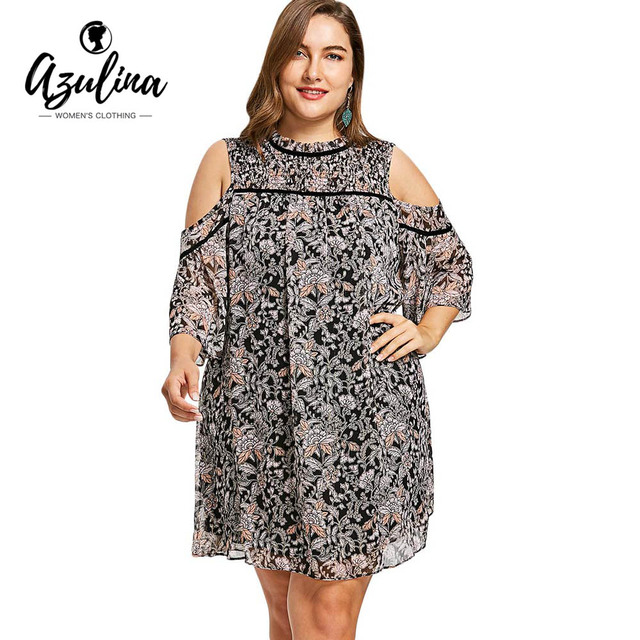 Resultado de imagen de plus size cold shoulder dress