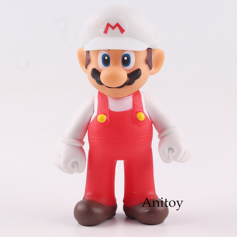 Super Mario Bros Figures Mario Action Figure in White Hat PVC Collectible Model Toy for Kids Gift 12cm super hero the flash man green lantern action figures toys collectible pvc model toy christmas gift for kids 20cm n006