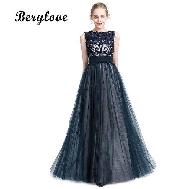Berylove A Line Navy Blue Evening Dresses 2018 Beaded Lace Evening