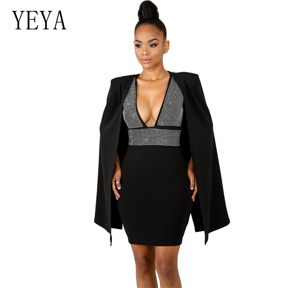 c27fddc6324a87 Detail Feedback Questions about YEYA Black Women Solid Rhinestone Diamonds  Short Dress With Cloak Sexy V Neck Sleeveless Backless Cape Slim Mini Dress  ...