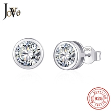 JOVO Sterling 925 silver smycken Personlighet Fina smycken kvinnor Runda örhängen stora zirkon dam present till kvinnlig