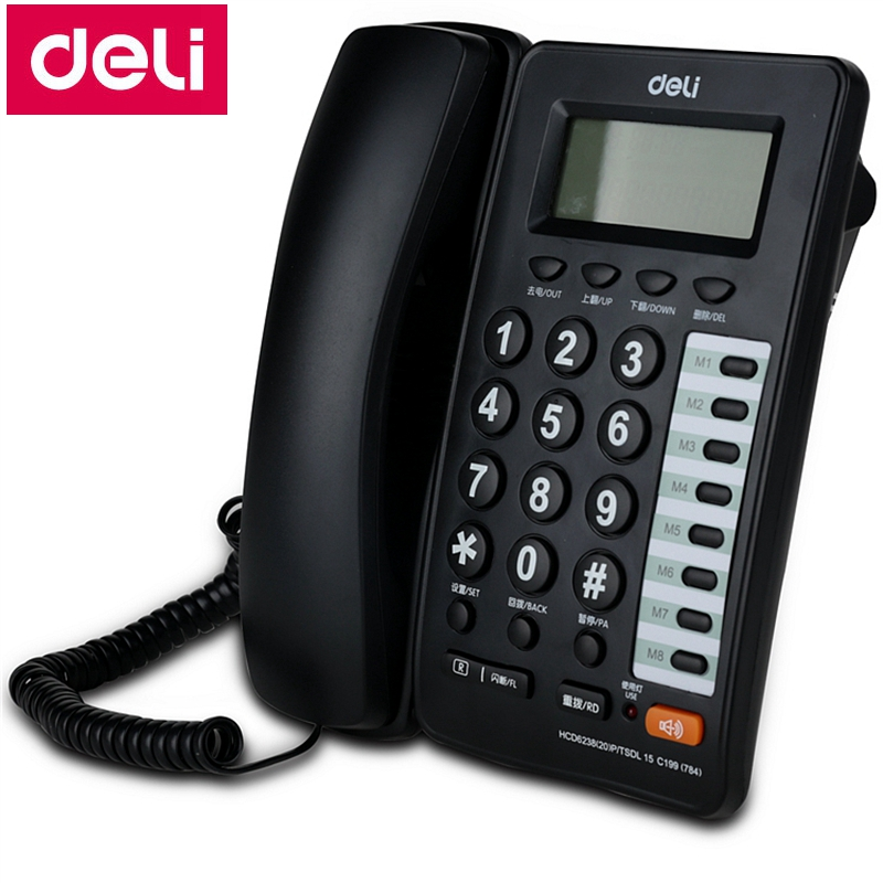 Deli 784 seat type telephone set corded telephone wall mountable hanging telephone caller ID display and