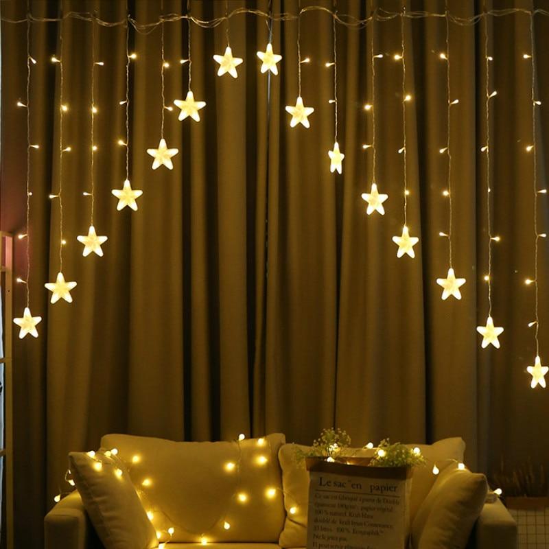 JSEX Cortinas de LED Luz Fada Luz Luzes De Natal Luzes Cordas Garland Ano Novo Decorações Do Feriado de Iluminação Ao Ar Livre Indoor