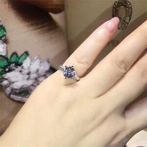 Image 4 - Clássico luxo real sólido 925 prata esterlina anel 2ct 10 corações setas sona diamante casamento jóias anéis de noivado para mulher