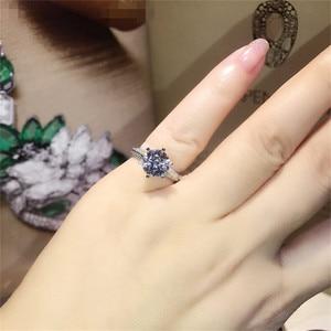 Image 4 - Klasyczne luksusowe naprawdę twarde 925 srebrny pierścień 2Ct 10 serca strzały SONA diamentowe wesele biżuteria pierścionki zaręczynowe dla kobiet