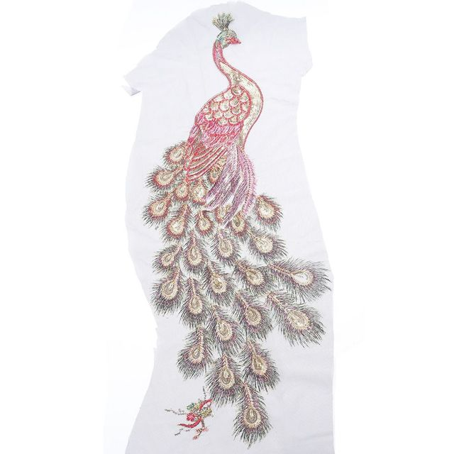 f0f6d26349ec5 US $0.94 6% OFF|DIY Peacock Flower Sequins Embroidered Patches For Clothes  Applique Embroidery Flower Wedding Dress Sewing Trim Garment Decor-in ...