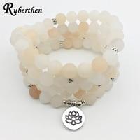 Ruberthen Matte Pink Aventurine Women S Yoga Bracelet Healing 108 Mala Balance Bracelet Lotus Charms Head