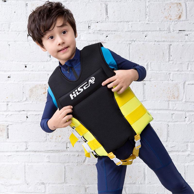 Hisea Youth Neoprene Swim Vest Foam Filled Kids Life Jacket suit for Swimming Boating Surfing Snorkeling Girls Boys Black Yellow mobile phone