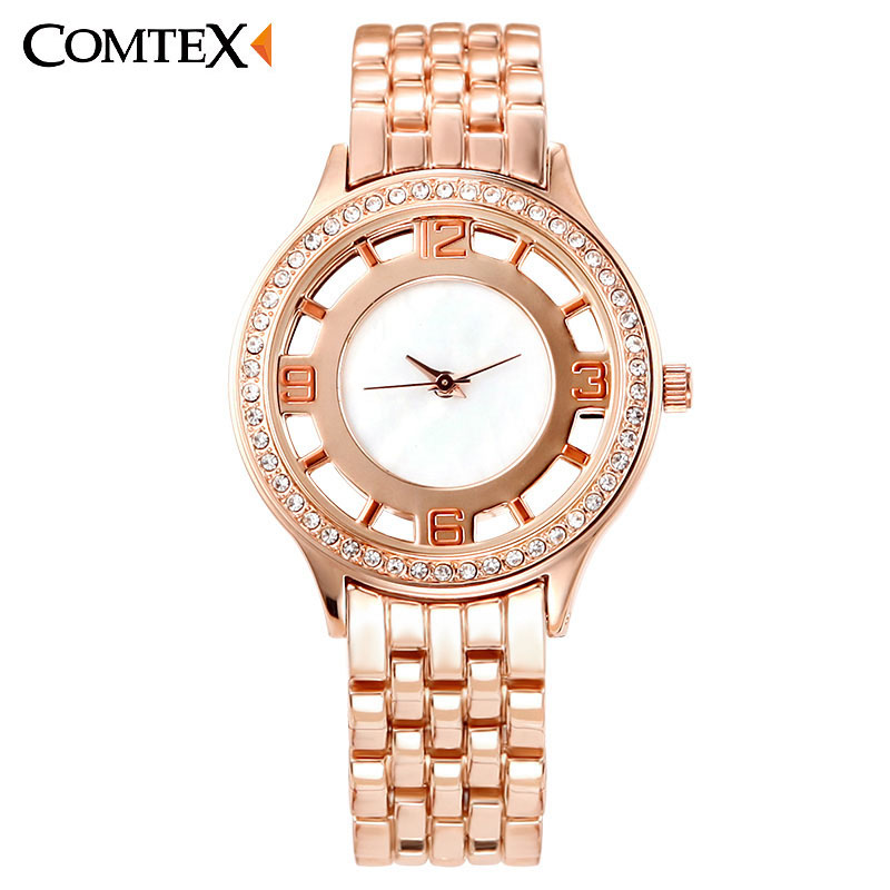 ФОТО 2016 Fashion Rose Gold Watch Women'S Wrist Watch Alloy Strap Analog Display Ladies Watch Casual Fashion Quartz Watch Waterproof