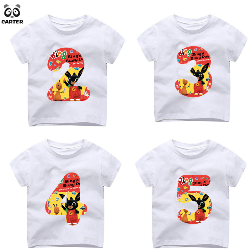 Boys Girls Birthday Bow Tie Number T Shirts Kid Gift