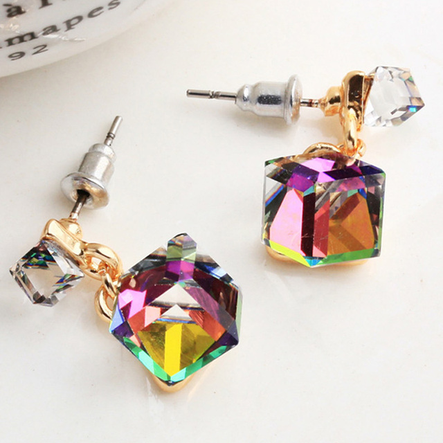 Fashion Stud Earring For Women With Stones Crystal Clear Green Gray Multicolor Color Cz Cube Jewelry Gift Wholes Price