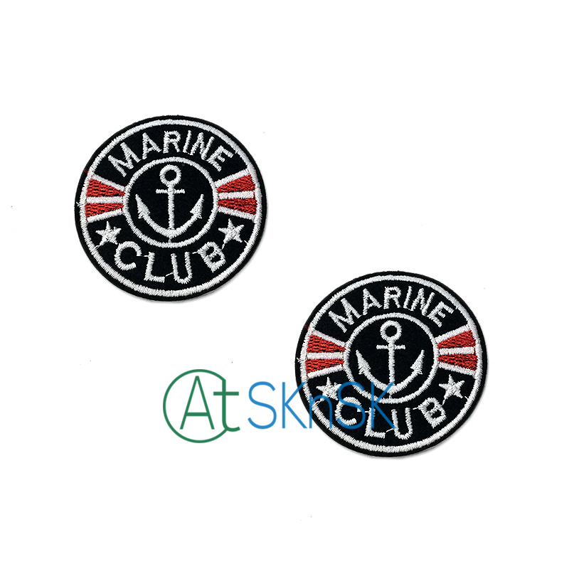 DIY Patches 5pcs Patch MARINE CLUB Kids clothes women motif applique ironing cloth embroidered patches for clothing Cloth Patch