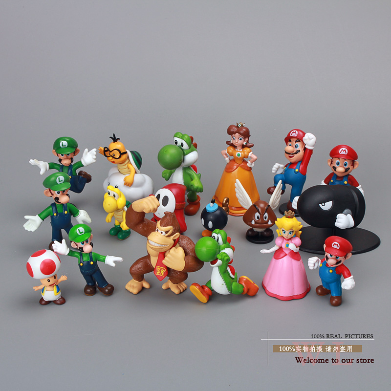 Super Mario Bros Figures Toys Dolls 18pcs/set Mario Luigi Princess Peach Daisy Yoshi Toad Donkey Kong Koopa ems shipping 12 sets cute super mario game mario luigi brothers set pvc action figure collection model dolls toy 3pcs per set