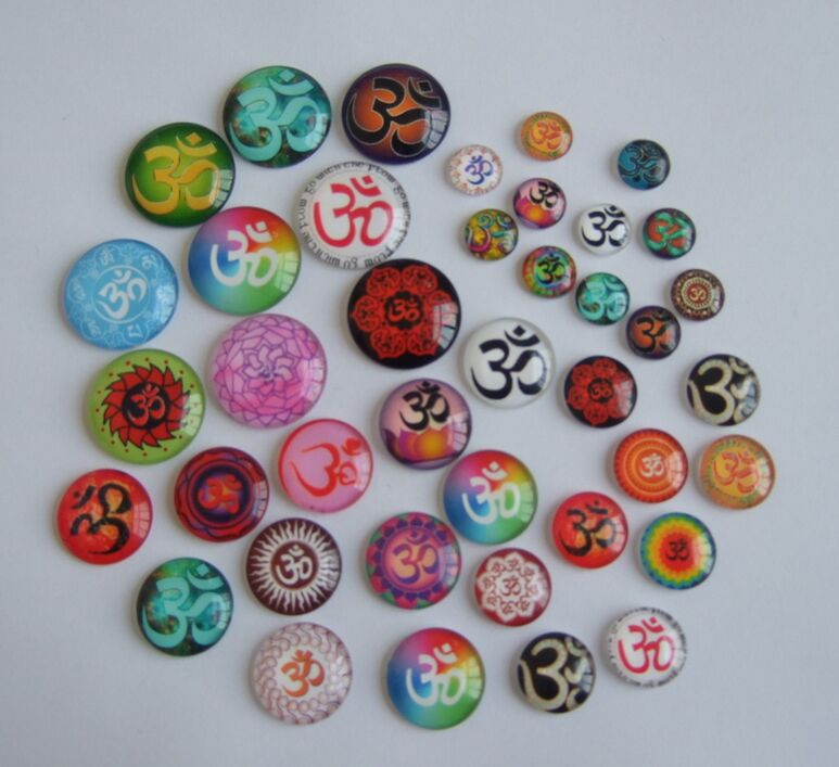 10pcs Mixed Color OM OHM AUM Symbol Yoga Cabochon Dome Flat Back for Tray Pendant Cover ...