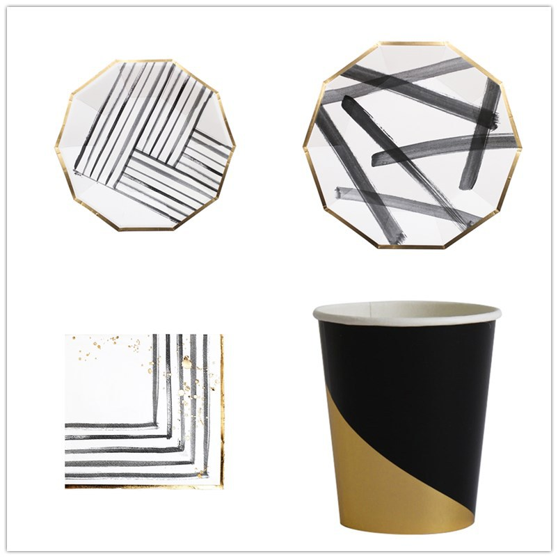 40PC/Set White graffiti Party Tableware Disposable Paper Plate Cups Foil Straws Utensils Wedding Birthday Party Decorations Xmas