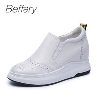 Beffery Spring Summer Genuine Leather Women Casual Shoes Platform Wedge High Heels 7cm Fashion Comfortable Shoes