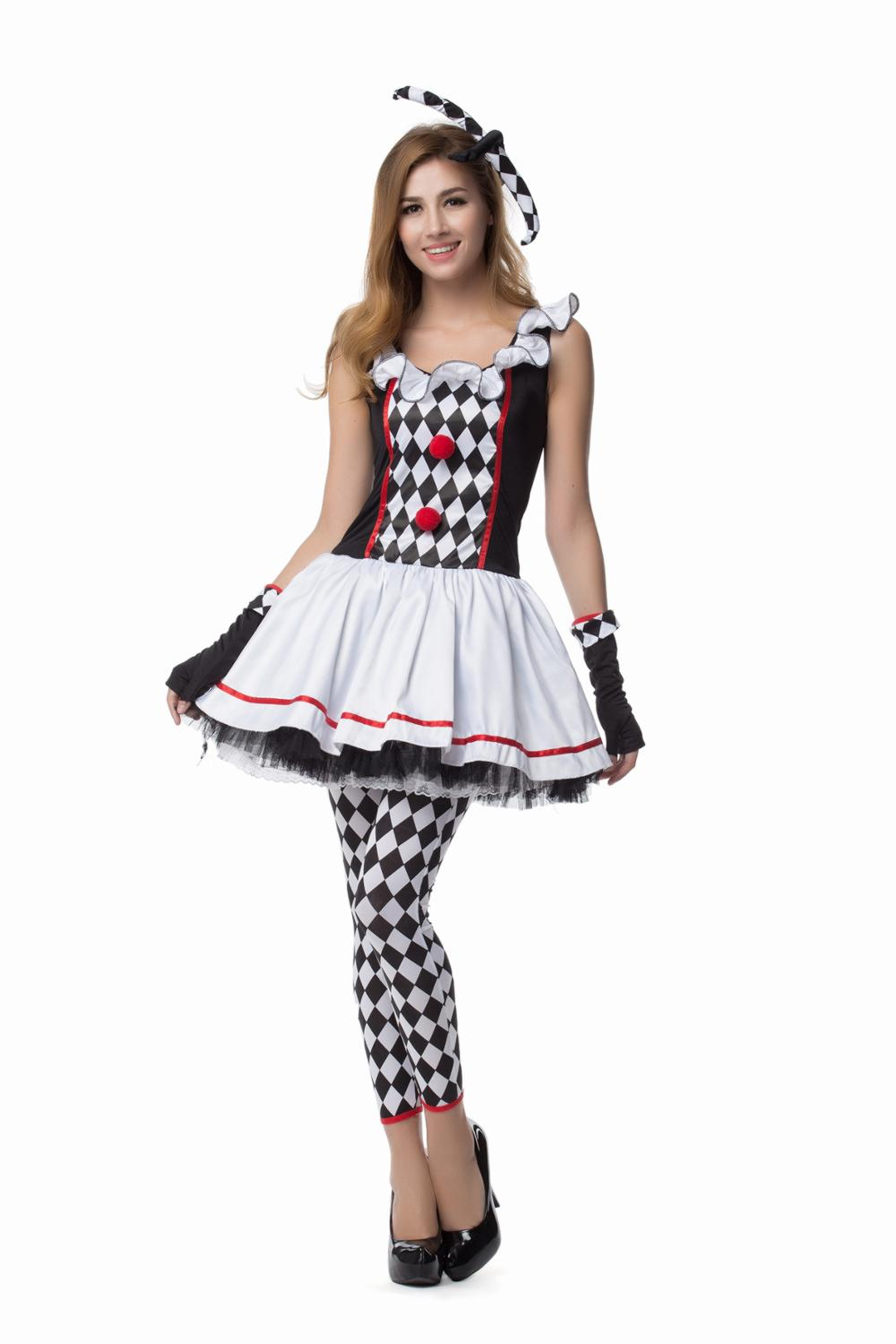 Circus Clown Harley Quinn Costume Tee Dress w//Small Bells for Halloween Cosplay