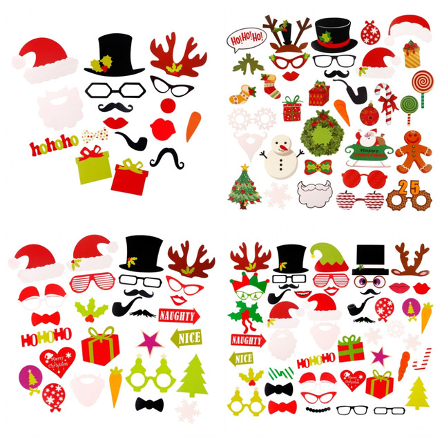 FENGRISE Merry Christmas Decoration Photo Booth Props Xmas Hat Tree ...