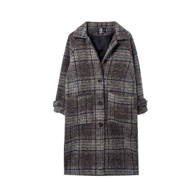 d681a413e77 Ropa Tapado De Campera Mujer Abrigo Invierno 2018 mujeres otoño Hiver  Invierno Plaid Vintage coreano Uzun