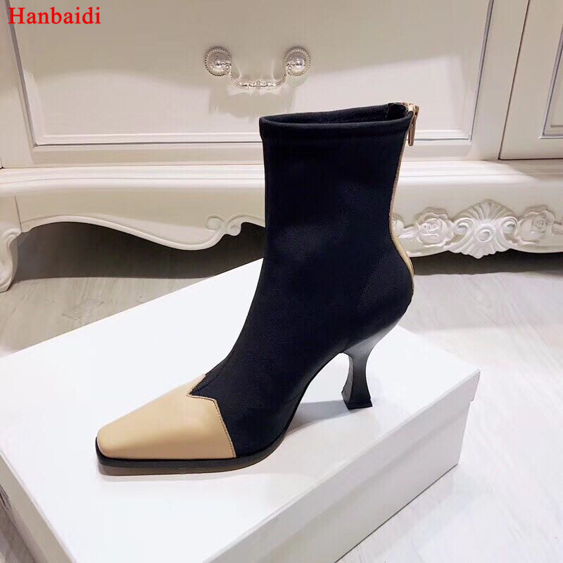 Hanbaidi Newest Stretch Sock Boots Women Leather Square Toe Patchwork Strange Heel Shoes Woman Fashion Ankle Boots Summer Shoes