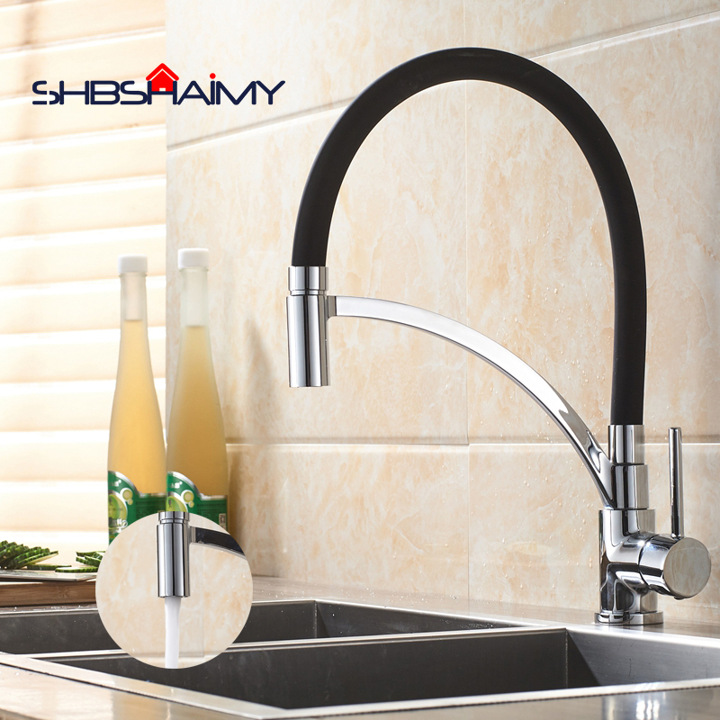 Chrome Polished Black Pipe Pull Down Kitchen Faucet 360 Degree Rotation Single Handle Single Hole Cold and Hot Water Mixer Tap micoe pull style hot and cold water kitchen faucet mixer single handle single hole modern style chrome tap 360 swivel m hc103