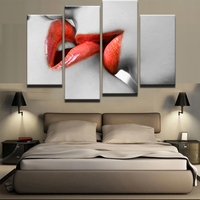 Framed Abstract Modern Home Decoration Canvas Printed Artwork 4 Panel Lips Painting Wall Art For Living Room Modular Picture