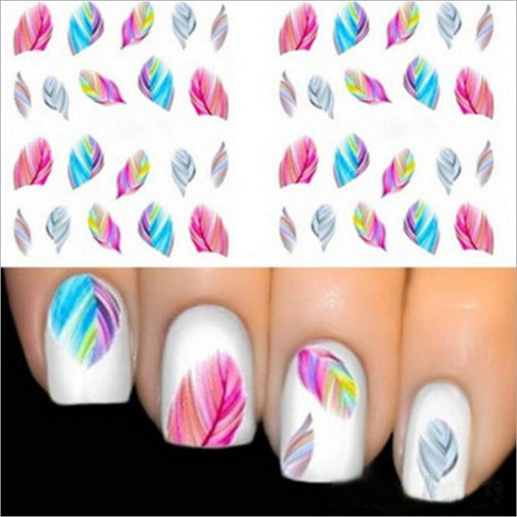 BELESHINY 1psc nail art Stickers 3d Beauty Water transfer Sticker for Nails feather Nail Art Charms Manicure Decals Decorations 2pcs gold or silver nail art decorations sticker patch foils armour stickers ongles cool nail stickers for nails beauty manicure