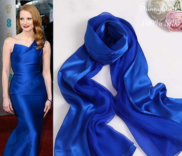Womens winter capes Silk pashminas Navy blue 00% satin Silk scarf - Apparel Accessories