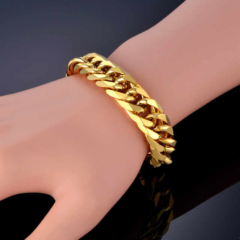 Cuban Link Bracelet For Men Jewelry Punk Gold Color Heavy Big Chain Link Men Stainless Steel Bracelet Pulseras