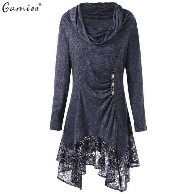 54706f1c88e59 Gamiss Women Spring Autumn Long T-Shirts Plus Size Cowl Neck Floral Longline  Button Embellished