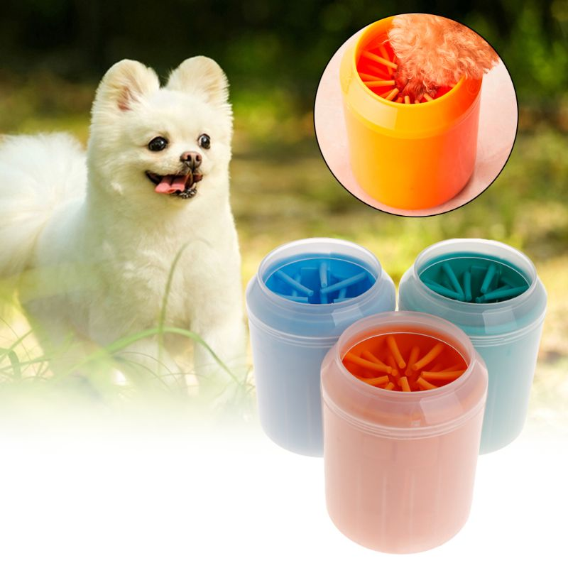 Pet Paw Cleaner Soft Brush Cup Can For Dog Puppy Cat Kitten Claw Fast Washing Device Cleaning Dirty Foot Washer Portable Stand L