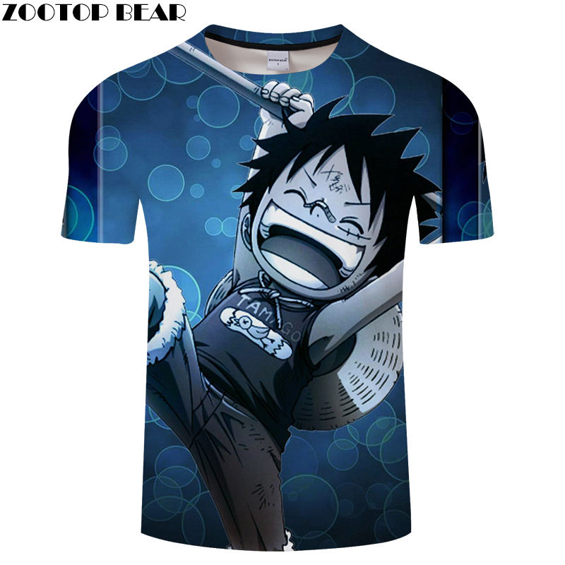 One Piece Men T Shirts 3D Print Couple Short Casual O-Neck Shirt Funny Movie Anime Fitness Brand t-shirt Breathable ZOOTOPBEAR