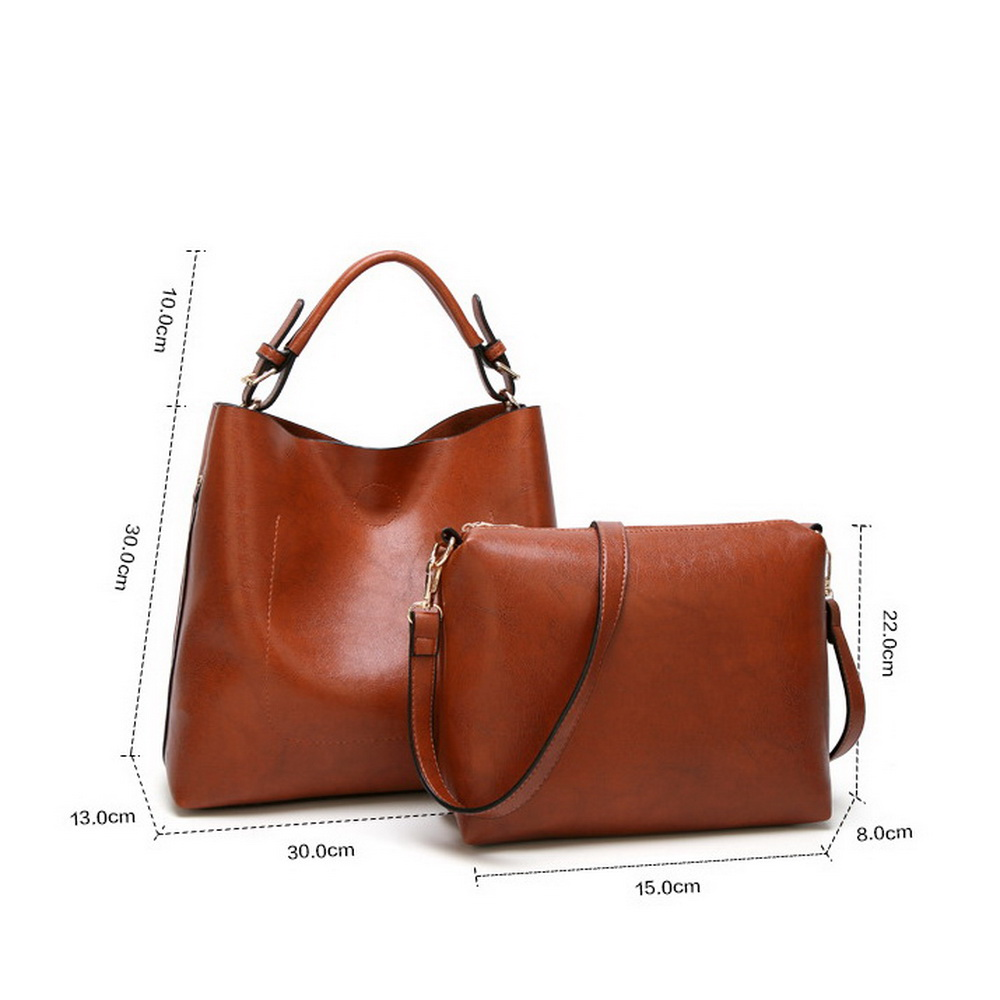 Funmardi Luxury Oil Wax Leather Composite Bag Vintage Women S Handbags Brand Style Shoulder New Fashion