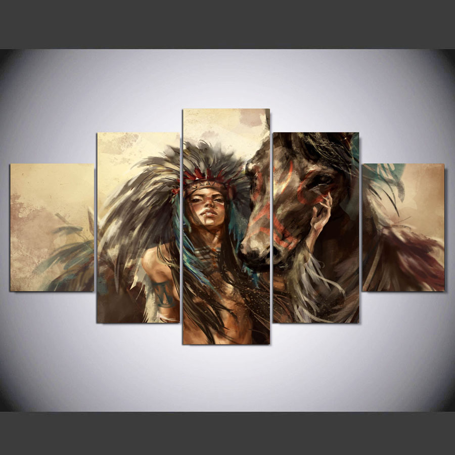 5-panel-hd-Native-American-girl-and-horse-Art-print-canvas-art-wall-framed-paintings-for