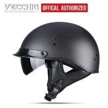Motorcycle helmet/Carbon fiber material Harley Jet helmet/ retro 1/2 half helmet with inner visor/ harley style