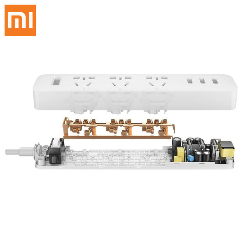 imágenes para Original XiaoMi 3 Puerto USB de Carga Rápida cargador 2.1A USB Smart Power Socket regleta Tira Enchufe Portátil Adaptador