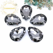 ¡Caliente! Cristal con forma de gota de agua gris, diamantes de imitación para coser con cuatro garras, accesorios de ropa Diy, envío gratis