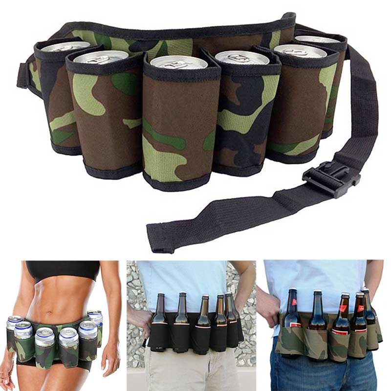 Portable 6 Pack Beer Wine Bottle Beverage Soda Can Holster Drink Waist Bag Individuality Party Holder Belt Pockets Popular