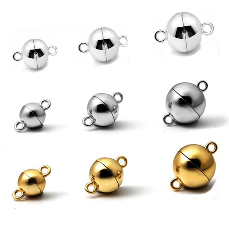 583968fa5d93 Broche magnético de bola de Plata de Ley 925 para collar pulsera cadena  hebilla gancho joyería encontrar accesorios de fabricación de joyería DIY