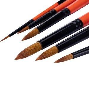 Image 5 - MEEDEN 6/8 Pcs Künstler Runden Spitzen Pinsel Set Kurzen Griff für Aquarell Acryl Ölgemälde Handmade Nylon Haar