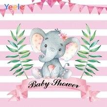 Yeele Pink Elephant Girl Princess Newborn Baby Shower Photography Backdrop Custom Photographic Background  For Photo Studio