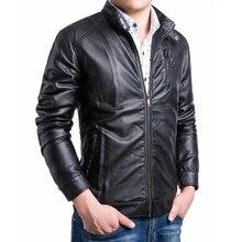 Spitzenverkauf fashion schräge reißverschluss leder für männer motorrad pu mantel outwear Schwarz Braun größe M-4XL 5XL AY055