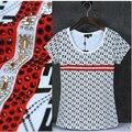 Padrões Geométricos moda strass camiseta de Algodão Mulheres 95% O pescoço top de manga curta meninas sexy elegante Verão tee camisa femme